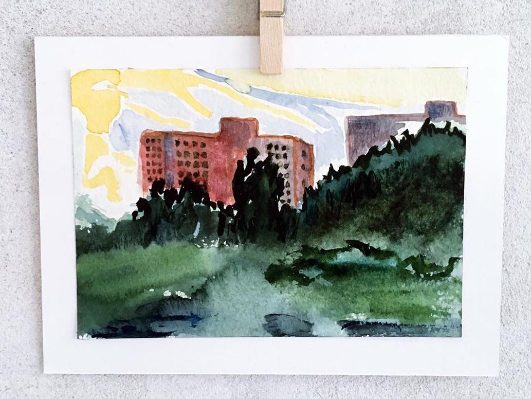 Höghus, 2020, akvarell på papper